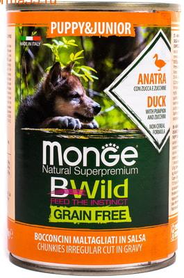 Влажный корм MONGE DOG BWILD, утка, тыква и кабачки (фото, вид 1)