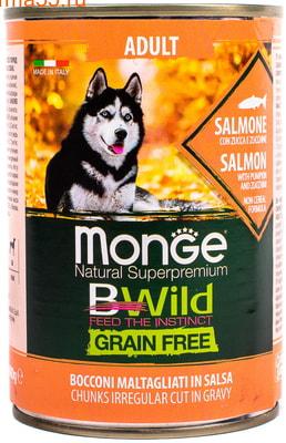 Влажный корм MONGE DOG BWILD, лосось, тыква и кабачки (фото, вид 1)