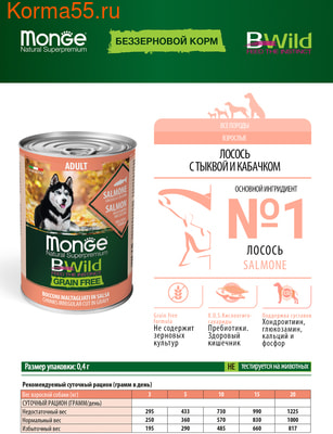 Влажный корм MONGE DOG BWILD, лосось, тыква и кабачки (фото, вид 6)