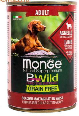 Влажный корм MONGE DOG BWILD, ягненок, тыква и овощи (фото, вид 1)