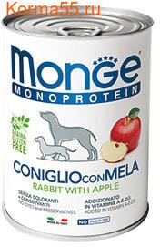 Влажный корм MONGE DOG NATURAL, кролик с яблоком (фото, вид 1)