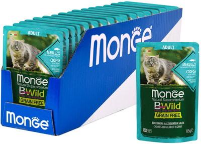 Влажный корм Monge Cat BWild Grain Free (из трески с креветками и овощами) (фото, вид 1)