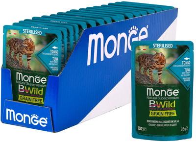 Влажный корм Monge Cat BWild Grain Free для стерилизованных кошек (тунец, креветки с овощами) (фото, вид 1)