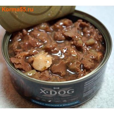 Влажный корм X-DOG ТУНЕЦ С ЛОСОСЕМ И БРОККОЛИ (фото, вид 1)