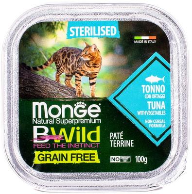 Влажный корм Monge BWild Cat Grain для стерилизованных кошек (тунец с овощами) (фото, вид 1)