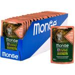 Влажный корм Monge Cat BWild Grain Free для стерилизованных кошек (лосось с креветками и овощами). Вид 2