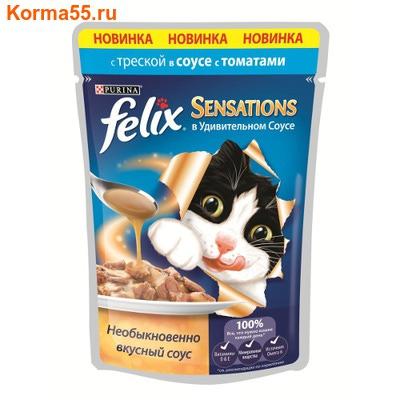 Влажный корм Felix Sensations с треской в соусе с томатами
