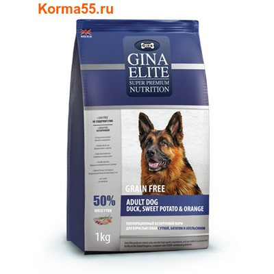Gina Elite Grain Free Adult Dog Duck, Sweet Potato, Orange (Великобритания) (фото)
