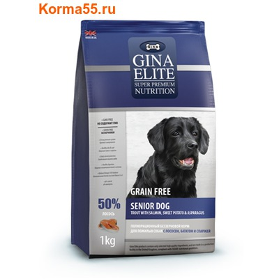 Gina Elite Grain Free Senior Dog Trout, Salmon, Sweet Potato, Asparagus (Великобритания) (фото)