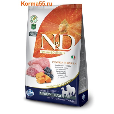 Farmina N&D Dog GF Pumpkin Lamb & Blueberry Adult Medium & Maxi