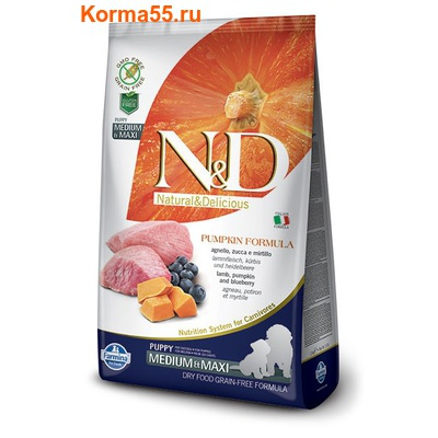 Farmina N&D Dog GF Pumpkin Lamb & Blueberry Puppy Medium & Maxi