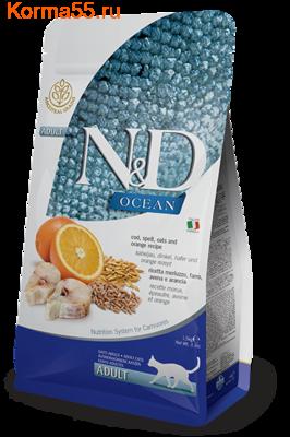 Сухой корм Farmina N&D Low Grain Cat Ocean Cod, spelt, oats & Orange Adult (фото)