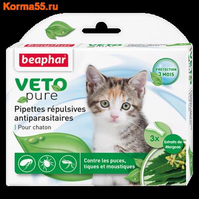 Капли Beaphar БИО VETO pure от блох, клещей и комаров для котят