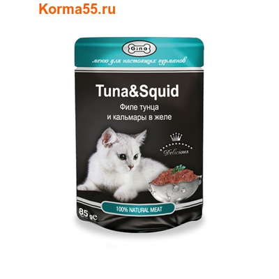 Влажный корм GINA Tuna & Squid — Тунец с кальмаром (фото)