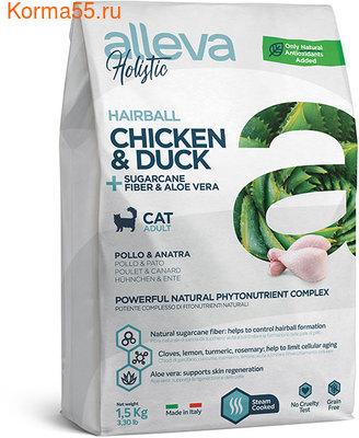 Сухой корм Alleva Holistic Chicken & Duck + Sugarcane fiber & Aloe vera Hairball