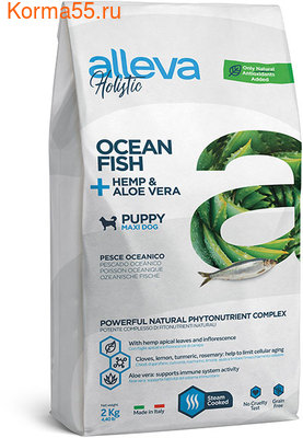 Сухой корм Alleva Holistic Ocean Fish + Hemp & Aloe vera Puppy Maxi