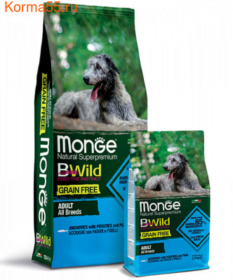 Сухой корм Monge Dog BWild GRAIN FREE All Breeds Adult Acciughe (анчоус, картофелем и горох) (фото)