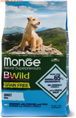 Сухой корм Monge Dog BWild GRAIN FREE Mini Adult Acciughe (анчоус, картофель и горох) (фото)