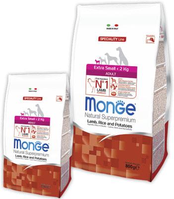 Сухой корм Monge Dog Speciality Extra Small Adult Lamb (ягненок, рис, картофель)