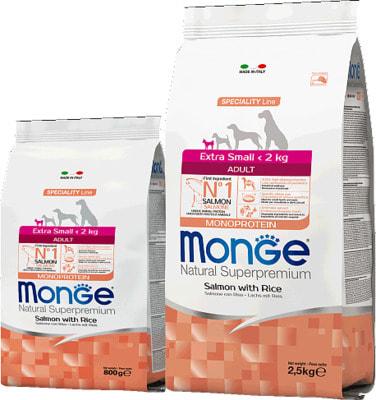 Сухой корм Monge Dog Monoprotein Extra Small Adult Salmone (лосось и рис) (фото)