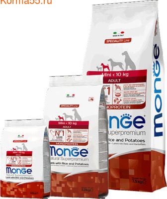 Сухой корм Monge Dog Monoprotein Mini Adult Lamb (ягненок, рис и картофель) (фото)