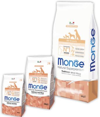 Сухой корм Monge Dog Monoprotein Puppy & Junior Salmone (лосось и рис) (фото)
