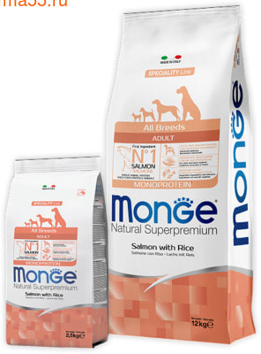 Сухой корм Monge Dog Monoprotein Salmone (лосось и рис) (фото)