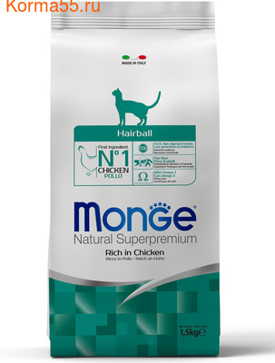 Сухой корм Monge Cat Hairball (курица)