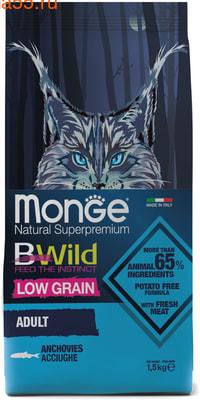 Сухой корм Monge Cat BWild LOW GRAIN Anchovies (анчоусы)