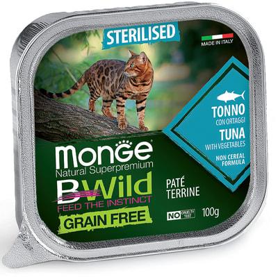 Влажный корм Monge BWild Cat Grain для стерилизованных кошек (тунец с овощами) (фото)