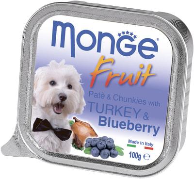 Влажный корм MONGE DOG FRUIT с индейкой и черникой (фото)