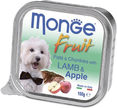 Влажный корм MONGE DOG FRUIT с ягненком и яблоком (фото)