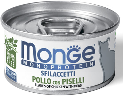 Влажный корм MONGE CAT MONOPROTEIN, курица с горошком (фото)