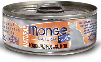 Влажный корм MONGE CAT NATURAL, тунец и лосось (фото)