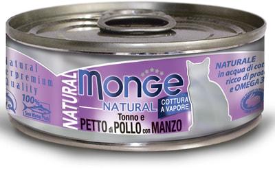 Влажный корм MONGE CAT NATURAL, тунец, курица и говядина (фото)