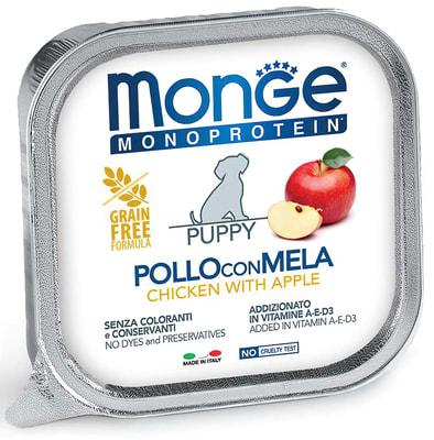 Влажный корм  MONGE DOG MONOPROTEIN, курица с яблоком (фото)