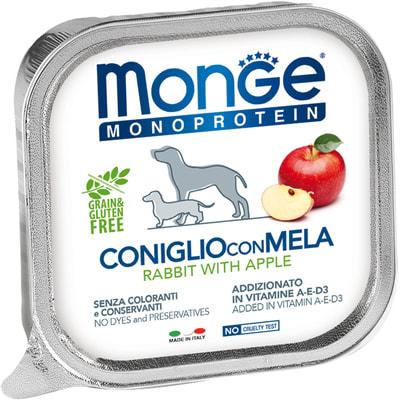 Влажный корм MONGE DOG NATURAL, кролик с яблоком (фото)