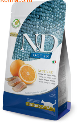 Сухой корм Farmina N&D Adult Neutered Herring and orange
