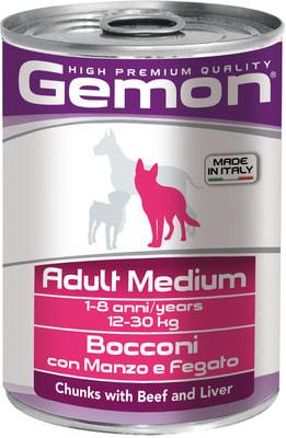Влажный корм GEMON DOG MEDIUM кусочки с говядиной и печенью (фото)