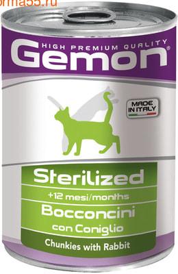 Влажный корм  GEMON CAT STERILIZED с кроликом (фото)
