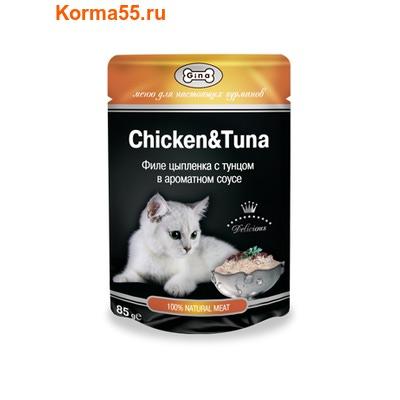 Влажный корм GINA Chicken & Tuna — Цыпленок с тунцом (фото)