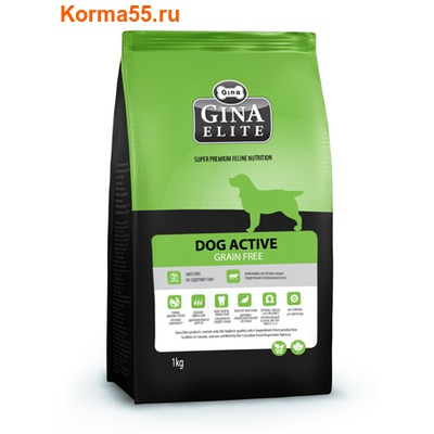 Сухой корм Gina Elite Dog active grain free (Канада)