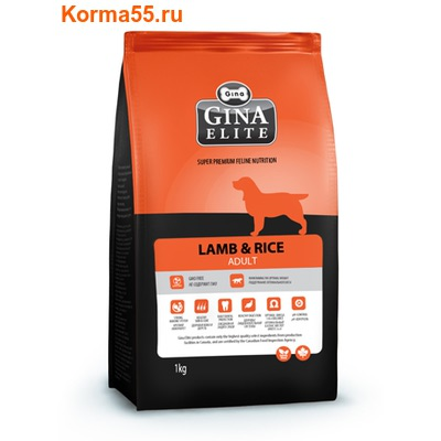 Сухой корм Gina Elite Dog Lamb & Rice (Канада)