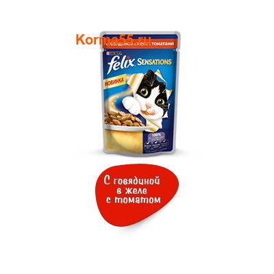 Felix Sensations говядина в желе с томатом