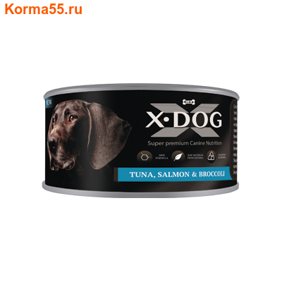 Влажный корм X-DOG ТУНЕЦ С ЛОСОСЕМ И БРОККОЛИ (фото)