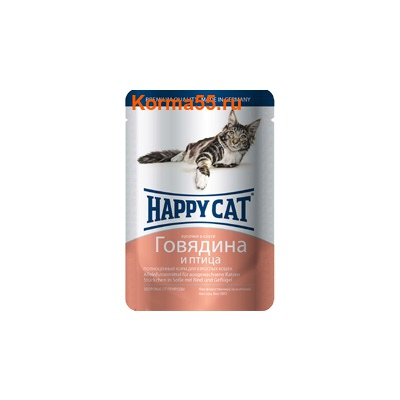 Влажный корм Happy Cat Говядина и птица