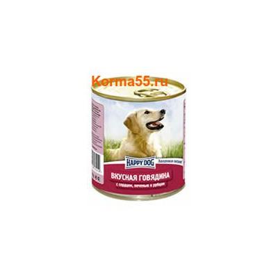 Влажный корм Happy Dog Вкусная говядина с сердцем, печенью и рубцом
