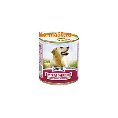 Влажный корм Happy Dog Вкусная говядина с сердцем, печенью, рубцом и рисом