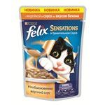 Влажный корм Felix Sensations с индейкой в соусе со вкусом бекона
