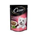 Пауч CESAR из говядины и кролика в соусе со шпинатом